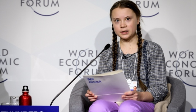 TOPSHOT - Swedish youth climate activist Greta Thunberg (C) delivers a speech during the closing day of the World Economic Forum (WEF) annual meeting, on January 25, 2019 in Davos, eastern Switzerland. - Swedish 16-year-old Greta Thunberg has inspired a wave of climate protests by schoolchildren around the world after delivering a fiery speech at the UN climate summit in Katowice, Poland last month. (Photo by Fabrice COFFRINI / AFP)        (Photo credit should read FABRICE COFFRINI/AFP/Getty Images)