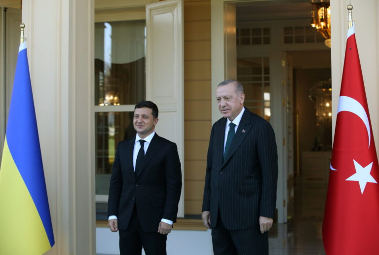 Turkish President Tayyip Erdogan meets with his Ukrainian counterpart Volodymyr Zelenskiy in Istanbul, Turkey October 16, 2020. Presidential Press Office/Handout via REUTERS ATTENTION EDITORS - THIS PICTURE WAS PROVIDED BY A THIRD PARTY. NO RESALES. NO ARCHIVE.