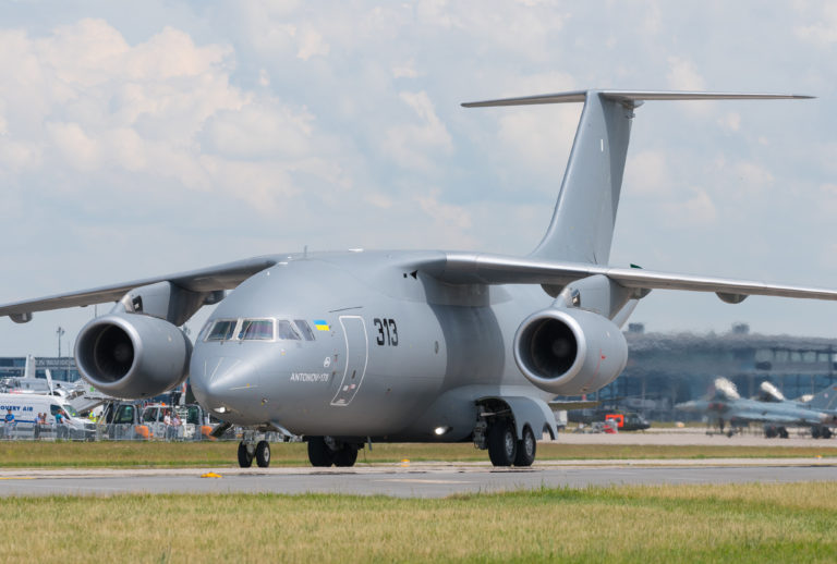 Antonov Design Bureau Antonov An-178 (reg. UR-EXP, cn 001, marking 313) at ILA Berlin Air Show 2016.